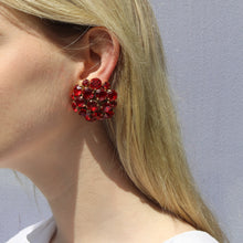 Load image into Gallery viewer, Harlequin Market Austrian Crystal Cluster Earrings - Ruby Red - Gold (Clip-on)
