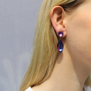 Harlequin Market Austrian Crystal Drop Earrings - Heliotrope (Pierced)