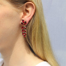 Load image into Gallery viewer, Harlequin Market Austrian Crystal Drop Earrings - Fuchsia Pink (Pierced)
