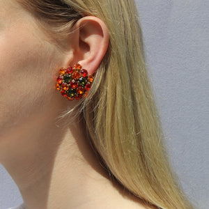 Harlequin Market Austrian Crystal Cluster Earrings - Orange - Red - Green - Gold (Clip-on)