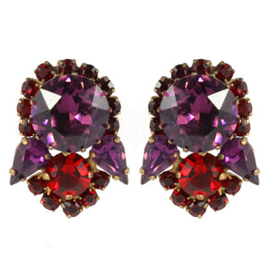 Harlequin Market Austrian Crystal Earrings - Ruby Red - Amethyst - Gold (Pierced)