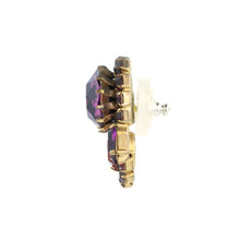 Load image into Gallery viewer, Harlequin Market Austrian Crystal Earrings - Ruby Red - Amethyst - Gold (Pierced)