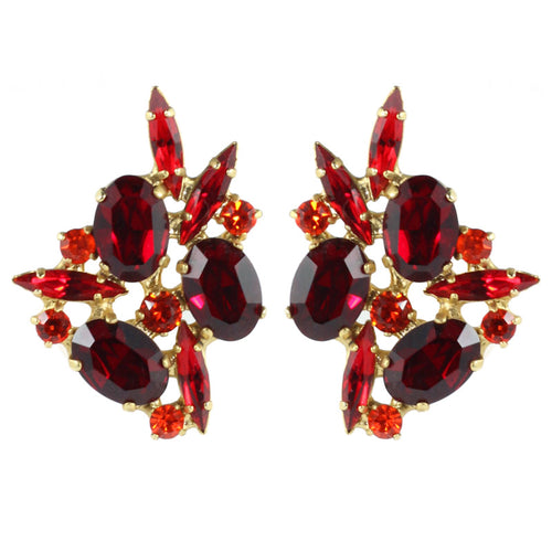 Harlequin Market Austrian Crystal Earrings - Ruby Red - Hyacinth - Gold (Clip-on)