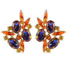 Load image into Gallery viewer, Harlequin Market Austrian Crystal Earrings - Orange - Heliotrope - Gold (Clip-On)