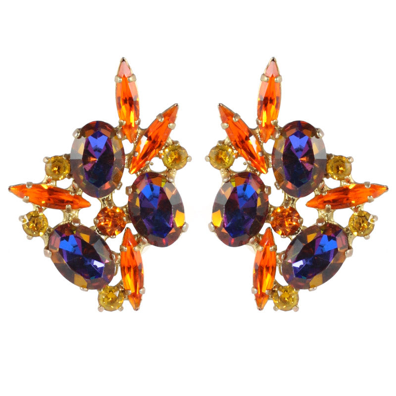 Harlequin Market Austrian Crystal Earrings - Orange - Heliotrope - Gold (Clip-On)