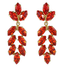 Load image into Gallery viewer, Harlequin Market Austrian Crystal Earrings - Hyacinth Red - Gold (Pierced)