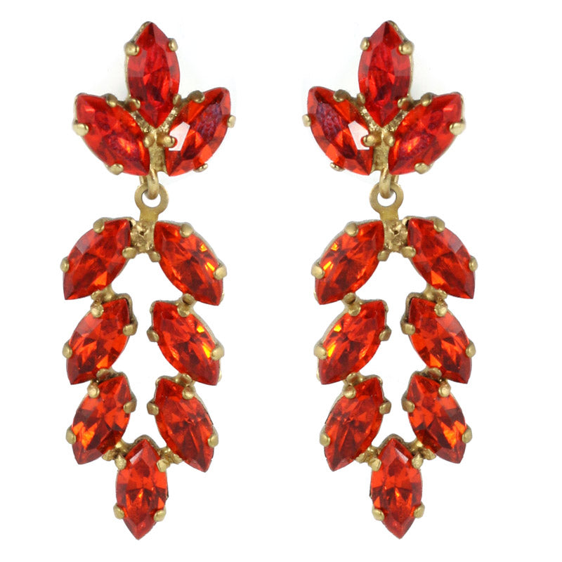 Harlequin Market Austrian Crystal Earrings - Hyacinth Red - Gold (Pierced)