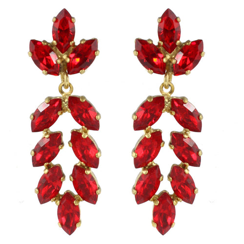 Harlequin Market Austrian Crystal Earrings - Ruby Red - Gold (Pierced)