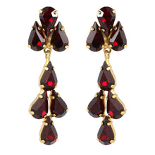 Load image into Gallery viewer, Harlequin Market Austrian Crystal Tear Drop Earrings - Ruby Red - Gold (Pierced)