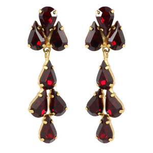 Harlequin Market Austrian Crystal Tear Drop Earrings - Ruby Red - Gold (Pierced)