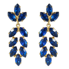 Load image into Gallery viewer, Harlequin Market Austrian Crystal Earrings - Capri Blue - Gold (Pierced)