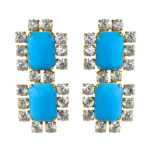 Load image into Gallery viewer, Harlequin Market Austrian Crystal Earrings - Turquoise - Clear - Gold (Clip-on)