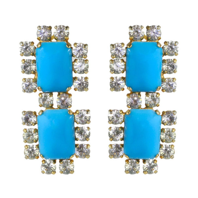 Harlequin Market Austrian Crystal Earrings - Turquoise - Clear - Gold (Clip-on)