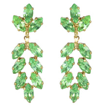 Load image into Gallery viewer, Harlequin Market Austrian Crystal Earrings - Peridot Green - Gold (Pierced)
