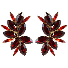 Load image into Gallery viewer, Harlequin Market Austrian Crystal Earrings - Ruby Red - Gold (Clip-on)