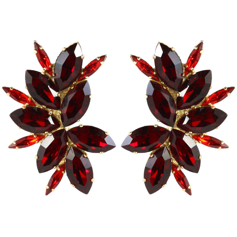Harlequin Market Austrian Crystal Earrings - Ruby Red - Gold (Clip-on)