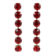 Load image into Gallery viewer, Harlequin Market Austrian Crystal 6 Drop Earrings - Ruby Red - Gold (Pierced)