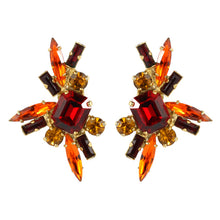 Load image into Gallery viewer, Harlequin Market Austrian Crystal Earrings - Orange - Ruby - Gold (Pierced)