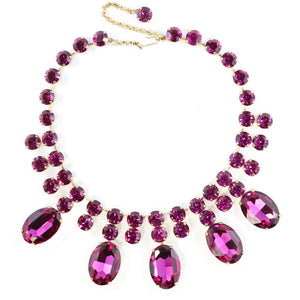 Harlequin Market Austrian Crystal Statement Necklace - Fuchsia Pink