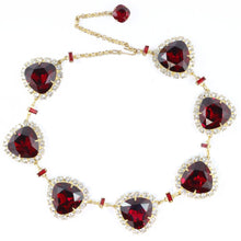 Load image into Gallery viewer, Harlequin Market Ruby and Clear Austrian Crystal Necklace