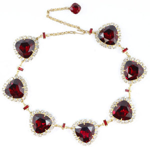 Harlequin Market Ruby and Clear Austrian Crystal Necklace