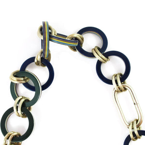 Vintage navy - green and metal chain necklace c. 1970