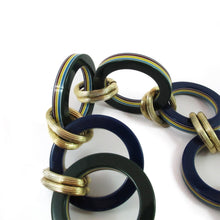 Load image into Gallery viewer, Vintage navy - green and metal chain necklace c. 1970