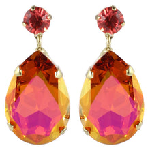 Load image into Gallery viewer, HQM Austrian Crystal Earrings - Teardrop - Faceted Pink and Orange- (Pierced earrings)