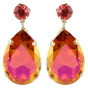 HQM Austrian Crystal Earrings - Teardrop - Faceted Pink and Orange- (Pierced earrings)