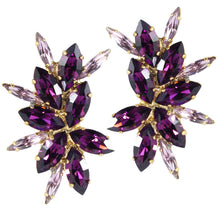 Load image into Gallery viewer, Harlequin Market Austrian Crystal Cluster Earrings - Amethyst-Light Amethyst-Gold Plating (Clip-On Earrings)