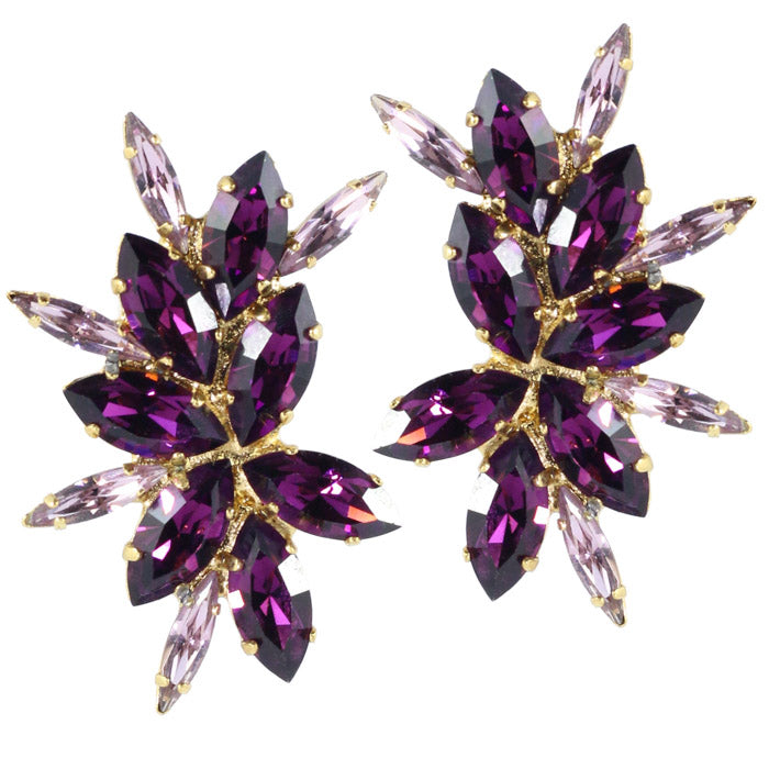 Harlequin Market Austrian Crystal Cluster Earrings - Amethyst-Light Amethyst-Gold Plating (Clip-On Earrings)