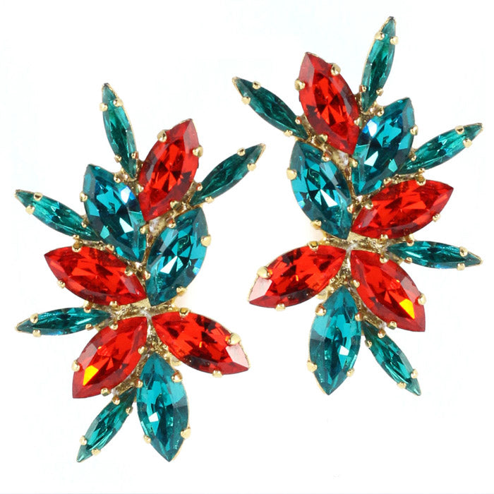 Harlequin Market Austrian Crystal Cluster Earring - Blue Zircon - Hyacinth (Clip-on)