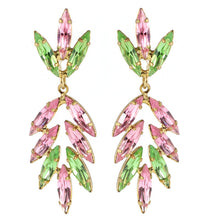 Load image into Gallery viewer, Harlequin Market Austrian Crystal Drop Earrings - Light Rose - Peridot (Pierced)