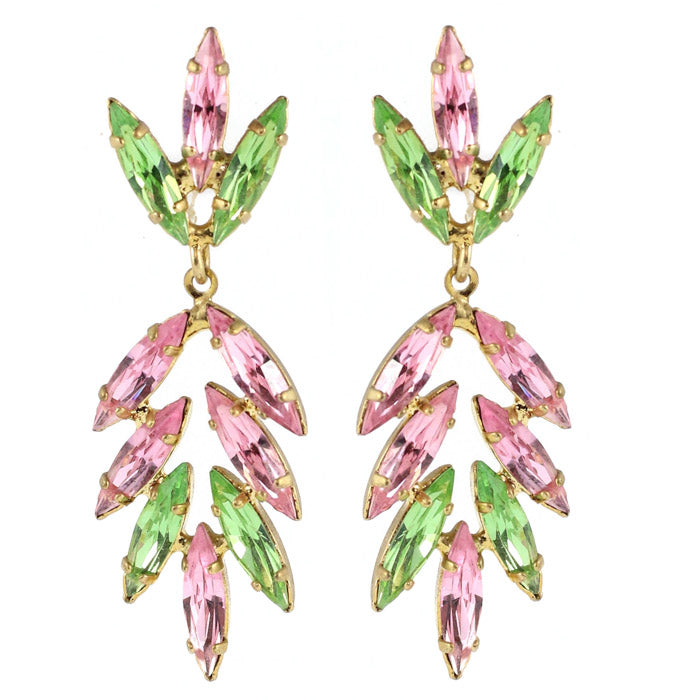 Harlequin Market Austrian Crystal Drop Earrings - Light Rose - Peridot (Pierced)