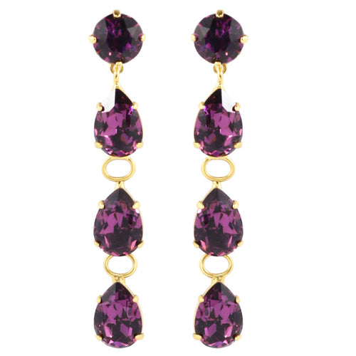 Harlequin Market Austrian Crystal Teardrop Earrings - Amethyst - Gold Plating (Pierced)