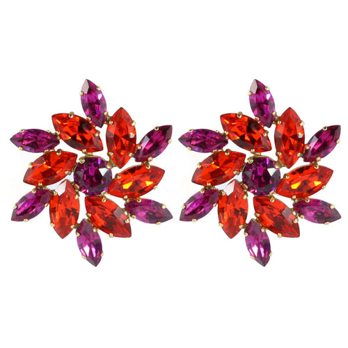 HQM Austrian Crystal Earrings - Hyacinth Orange and Fuchsia (Pierced earrings with Clip back )