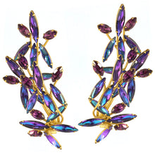 Load image into Gallery viewer, Harlequin Market Austrian Crystal Climber Earrings - Heliotrope (Clip-On Earrings)