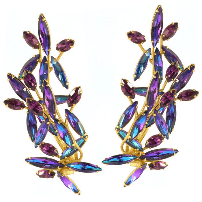 Harlequin Market Austrian Crystal Climber Earrings - Heliotrope (Clip-On Earrings)