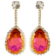 Load image into Gallery viewer, HQM Austrian Crystal Earrings- Faceted Pink - Orange - Clear (Pierced)
