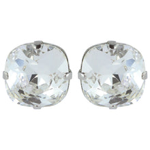 Load image into Gallery viewer, Harlequin Market Austrian Crystal Faceted Large Stud Earrings - Clear - Rhodium (pierced)
