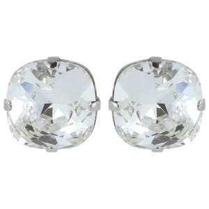 Harlequin Market Austrian Crystal Faceted Large Stud Earrings - Clear - Rhodium (pierced)