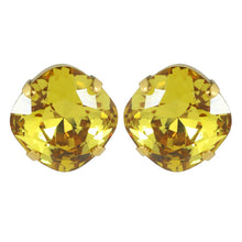 Load image into Gallery viewer, Harlequin Market Austrian Crystal Faceted Large Stud Earrings - Light Topaz - Gold (pierced)