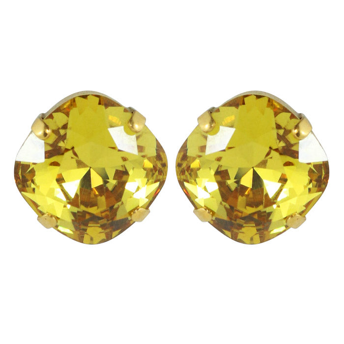 Harlequin Market Austrian Crystal Faceted Large Stud Earrings - Light Topaz - Gold (pierced)