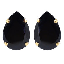 Load image into Gallery viewer, Harlequin Market Austrian Crystal Large Teardrop Stud Earrings - Jet Black - Gold (Pierced)