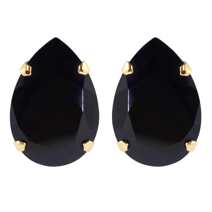 Harlequin Market Austrian Crystal Large Teardrop Stud Earrings - Jet Black - Gold (Pierced)