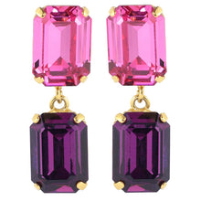 Load image into Gallery viewer, Harlequin Market Austrian Crystal Double Octagon Earrings - Amethyst - Rose (Pierced)
