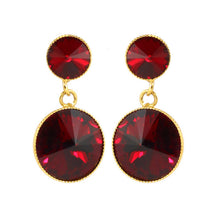 Load image into Gallery viewer, Harlequin Market Austrian Crystal Earrings - Ruby Red - Gold (Pierced)