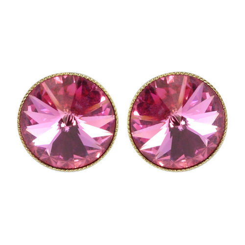 Harlequin Market Austrian Crystal Round Medium Stud Earrings - Rose (Pierced)