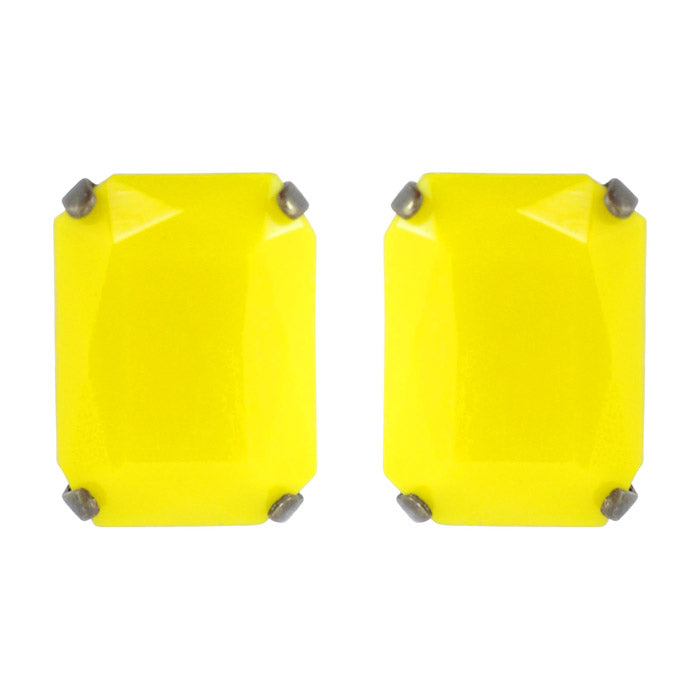 Harlequin Market Austrian Crystal Large Octagon Earrings - Yellow - Antique (Pierced)