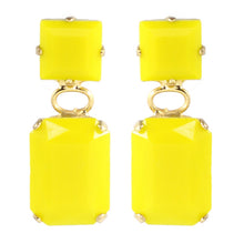 Load image into Gallery viewer, Harlequin Market Austrian Crystal Earrings - Yellow - Gold (Pierced)